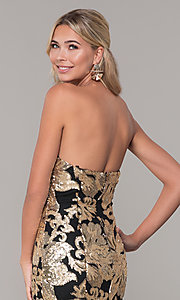 Image of strapless sequin long prom dress by Dave and Johnny. Style: DJ-A6768 Detail Image 2