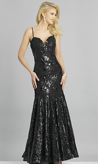 Strapless Sequin Long Prom Dress by Dave and Johnny