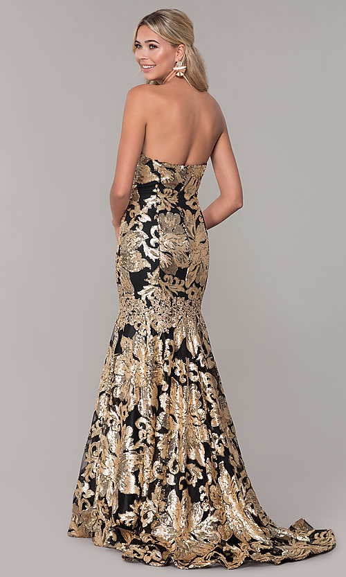 Image of strapless sequin long prom dress by Dave and Johnny. Style: DJ-A6768 Back Image