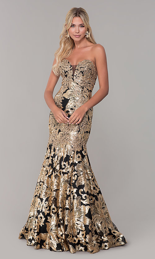 Image of strapless sequin long prom dress by Dave and Johnny. Style: DJ-A6768 Detail Image 3