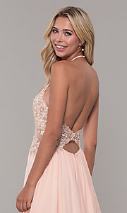 Image of high-neck peach prom dress with embroidered bodice. Style: DJ-A7281 Detail Image 2