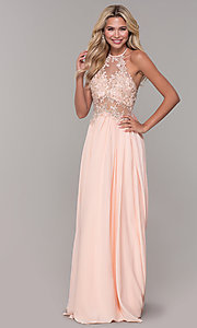 Image of high-neck peach prom dress with embroidered bodice. Style: DJ-A7281 Detail Image 3