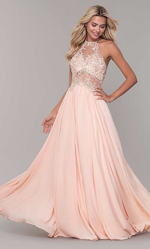 Image of high-neck peach prom dress with embroidered bodice. Style: DJ-A7281 Front Image