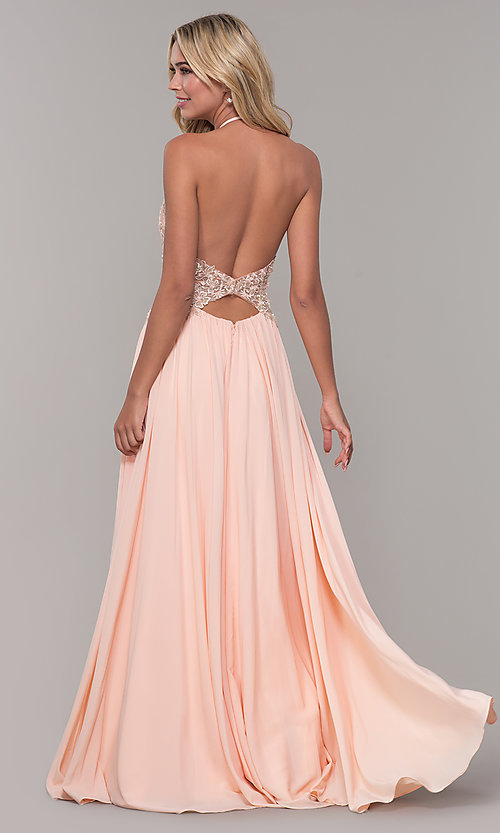 Image of high-neck peach prom dress with embroidered bodice. Style: DJ-A7281 Back Image
