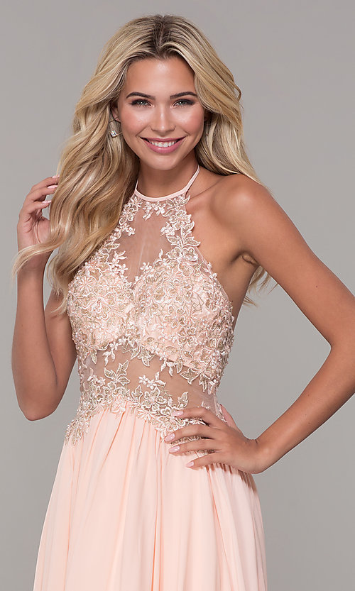 Image of high-neck peach prom dress with embroidered bodice. Style: DJ-A7281 Detail Image 1