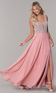 Image of beaded-bodice long Dave and Johnny prom dress. Style: DJ-A7159 Front Image