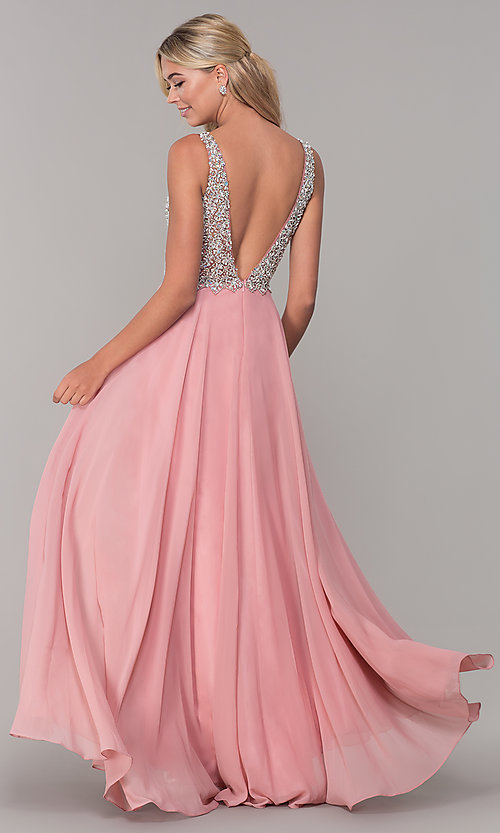 Image of beaded-bodice long Dave and Johnny prom dress. Style: DJ-A7159 Back Image