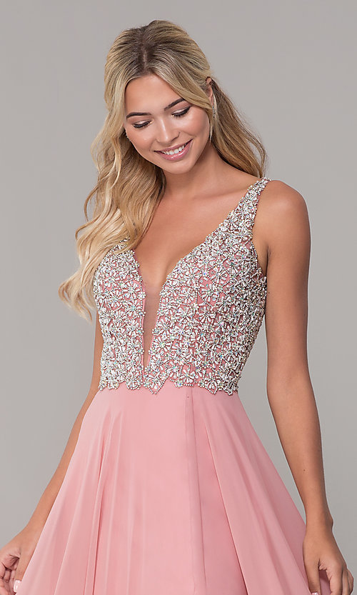 Image of beaded-bodice long Dave and Johnny prom dress. Style: DJ-A7159 Detail Image 1