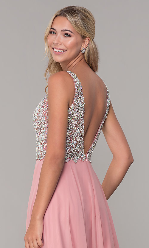 Image of beaded-bodice long Dave and Johnny prom dress. Style: DJ-A7159 Detail Image 2