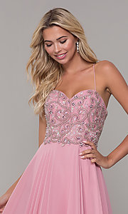 Image of mauve pink long prom dress with corset back. Style: DJ-A7639 Detail Image 1