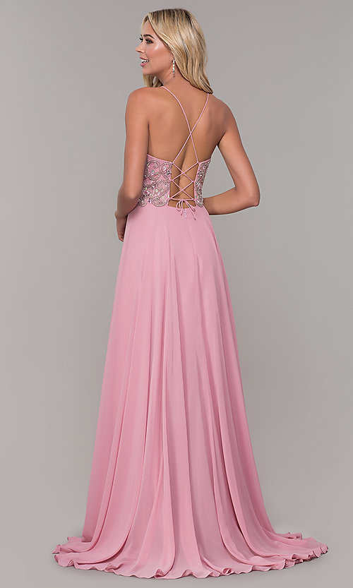 Image of mauve pink long prom dress with corset back. Style: DJ-A7639 Back Image