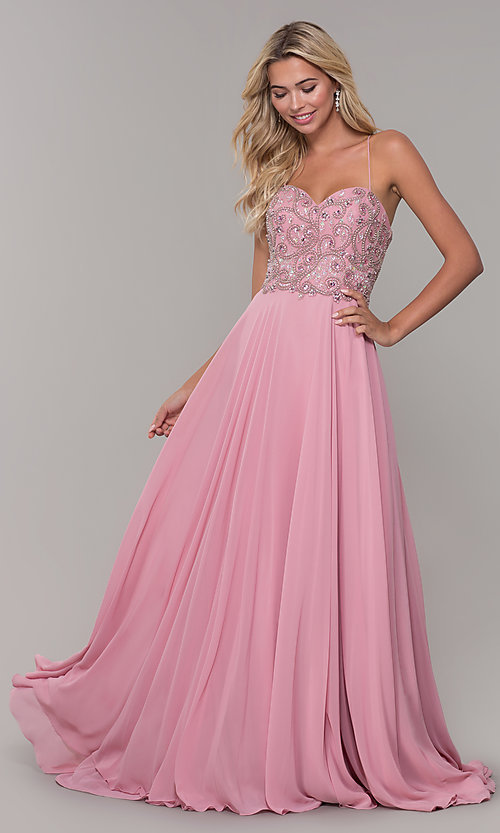 Image of mauve pink long prom dress with corset back. Style: DJ-A7639 Detail Image 3