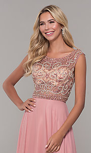 Image of illusion-bodice long prom dress by Dave and Johnny. Style: DJ-A1363 Detail Image 1