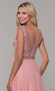 Image of illusion-bodice long prom dress by Dave and Johnny. Style: DJ-A1363 Detail Image 2
