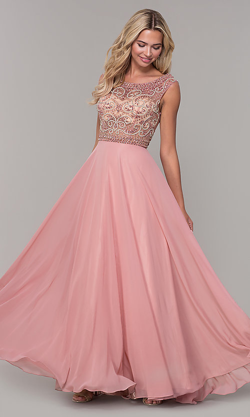 Image of illusion-bodice long prom dress by Dave and Johnny. Style: DJ-A1363 Front Image