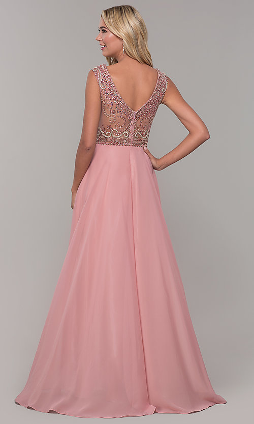 Image of illusion-bodice long prom dress by Dave and Johnny. Style: DJ-A1363 Back Image