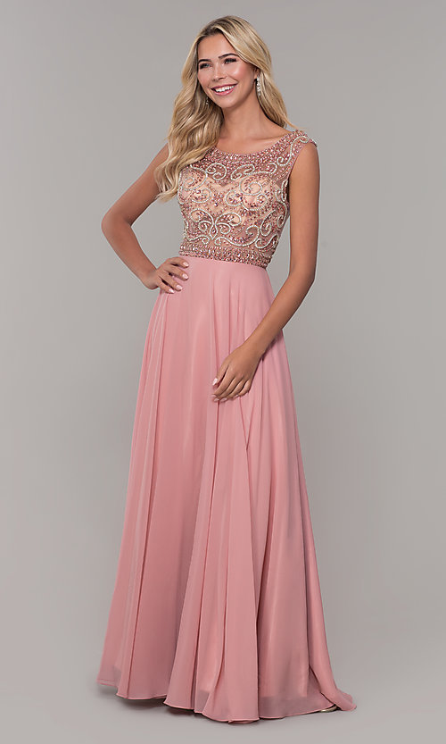 Image of illusion-bodice long prom dress by Dave and Johnny. Style: DJ-A1363 Detail Image 3