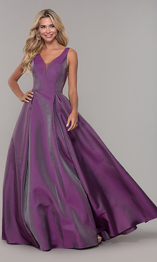 Image of purple v-neck long prom dress by Dave and Johnny. Style: DJ-A7325 Front Image