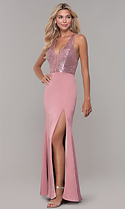 Image of v-neck long mauve prom dress with sequin bodice. Style: DJ-A7200 Front Image