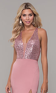Image of v-neck long mauve prom dress with sequin bodice. Style: DJ-A7200 Detail Image 1