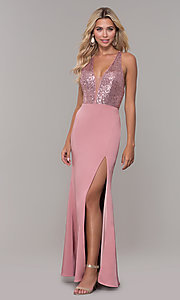 Image of v-neck long mauve prom dress with sequin bodice. Style: DJ-A7200 Detail Image 3