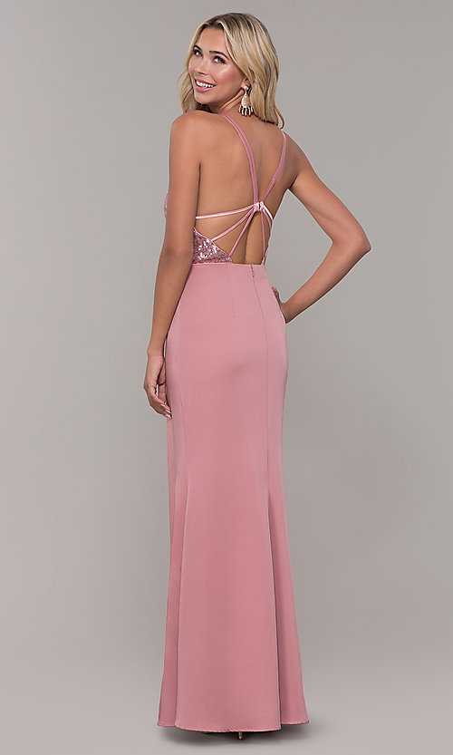 Image of v-neck long mauve prom dress with sequin bodice. Style: DJ-A7200 Back Image