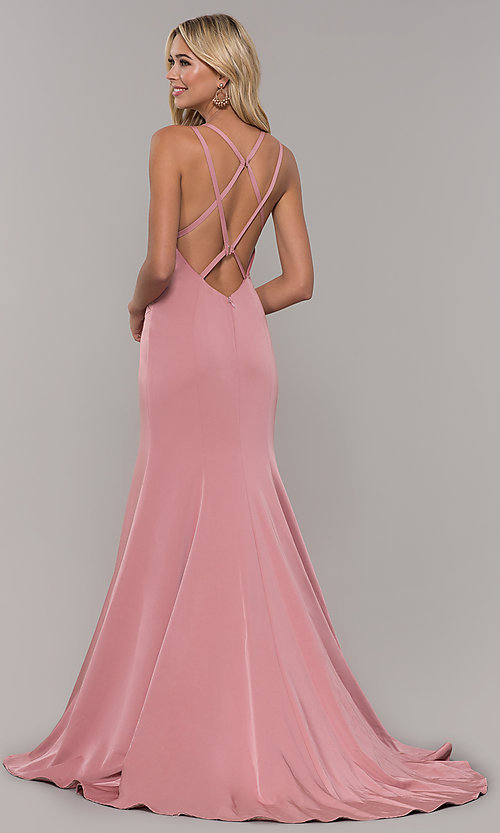 Image of Dave and Johnny mauve prom dress with open back. Style: DJ-A7090 Back Image