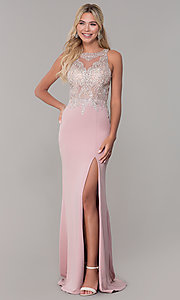 Image of Dave and Johnny long rose pink prom dress.  Style: DJ-A7586 Front Image