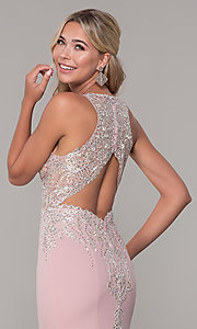 Image of Dave and Johnny long rose pink prom dress.  Style: DJ-A7586 Detail Image 2