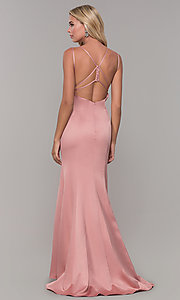 Image of long mauve pink prom dress with caged open back. Style: DJ-A7172 Back Image