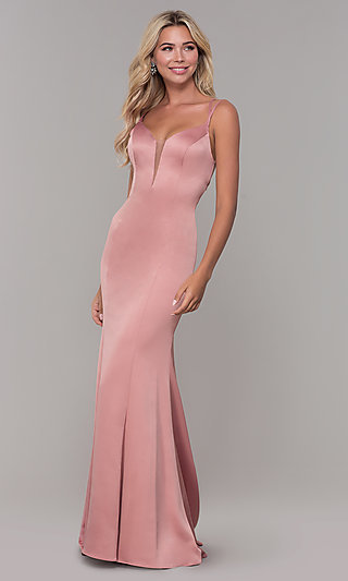 Long Mauve Pink Prom Dress with Caged Open Back