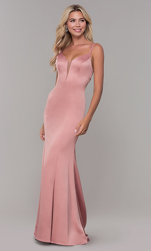 Image of long mauve pink prom dress with caged open back. Style: DJ-A7172 Front Image