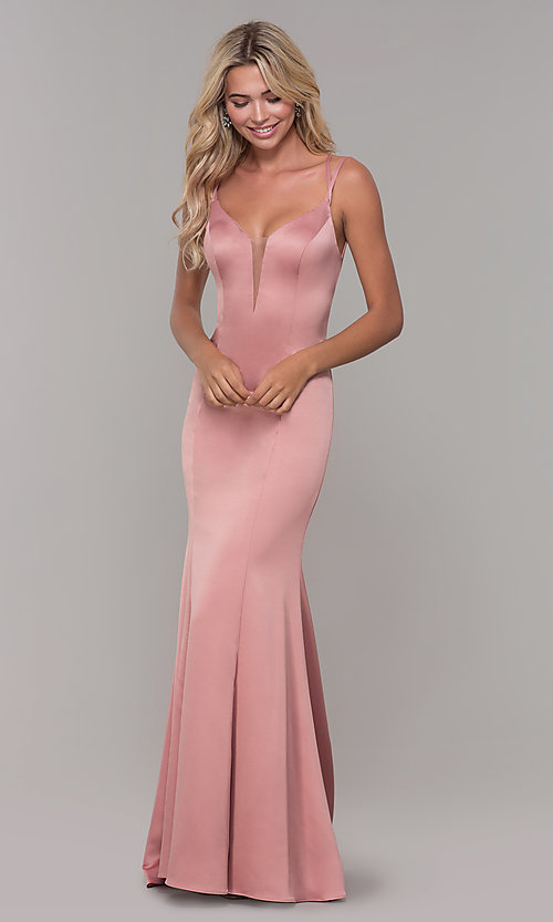 Image of long mauve pink prom dress with caged open back. Style: DJ-A7172 Detail Image 3