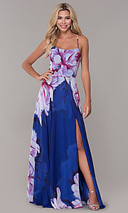 Image of long square-neck floral-print prom dress. Style: DJ-A6932 Back Image