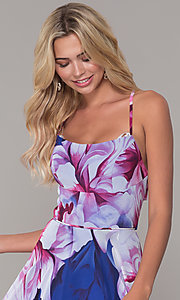 Image of long square-neck floral-print prom dress. Style: DJ-A6932 Detail Image 1