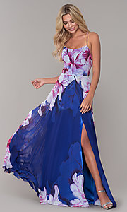 Image of long square-neck floral-print prom dress. Style: DJ-A6932 Detail Image 3