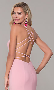 Image of open-back long v-neck prom dress by Dave and Johnny. Style: DJ-A7256 Detail Image 7