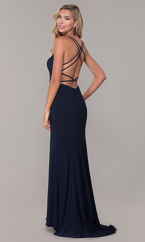 Image of open-back long v-neck prom dress by Dave and Johnny. Style: DJ-A7256 Back Image