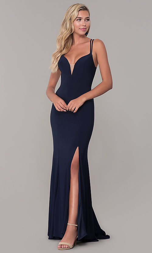 Image of open-back long v-neck prom dress by Dave and Johnny. Style: DJ-A7256 Detail Image 3
