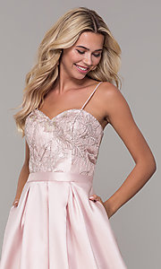 Image of long sweetheart blush pink prom dress. Style: DJ-A7774 Detail Image 1
