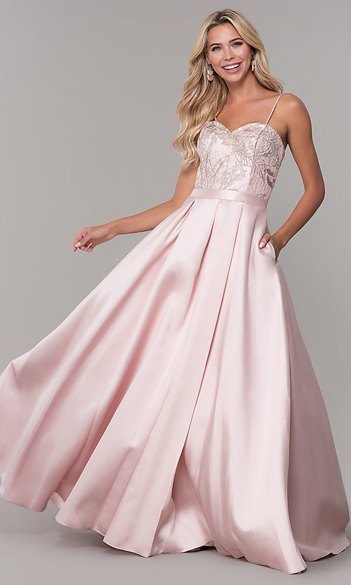 Image of long sweetheart blush pink prom dress. Style: DJ-A7774 Front Image