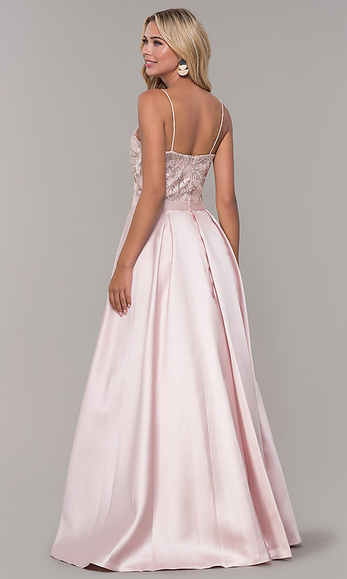 Image of long sweetheart blush pink prom dress. Style: DJ-A7774 Back Image