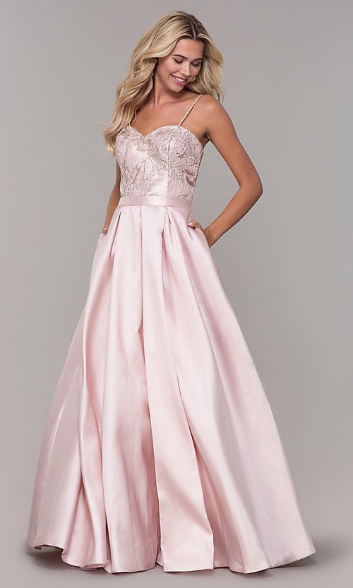 Image of long sweetheart blush pink prom dress. Style: DJ-A7774 Detail Image 3