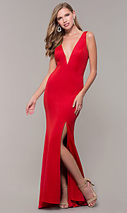 Image of long open-back prom dress with v-neckline. Style: DJ-A7025 Detail Image 4