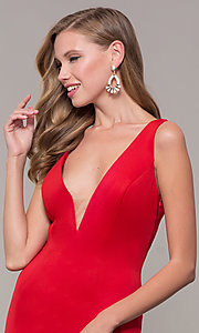 Image of long open-back prom dress with v-neckline. Style: DJ-A7025 Detail Image 6