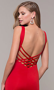 Image of long open-back prom dress with v-neckline. Style: DJ-A7025 Detail Image 7