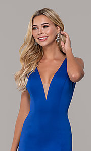 Image of long open-back prom dress with v-neckline. Style: DJ-A7025 Detail Image 1