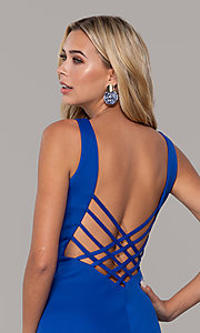 Image of long open-back prom dress with v-neckline. Style: DJ-A7025 Detail Image 2
