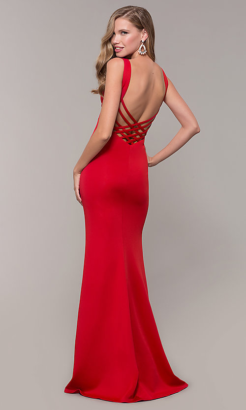 Image of long open-back prom dress with v-neckline. Style: DJ-A7025 Detail Image 5