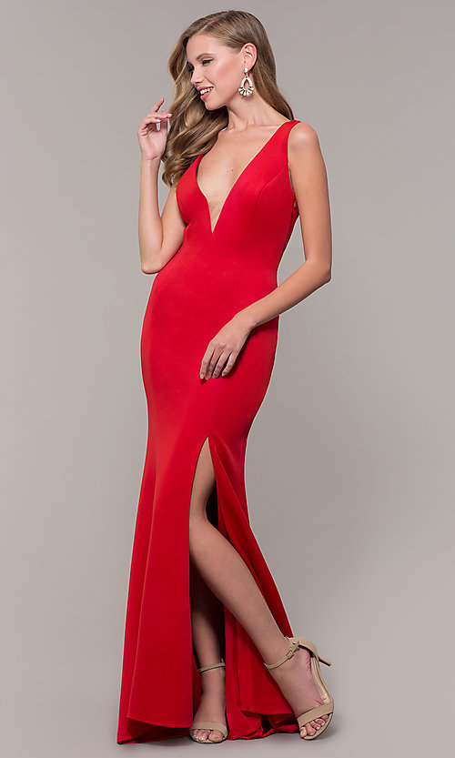 Image of long open-back prom dress with v-neckline. Style: DJ-A7025 Detail Image 8